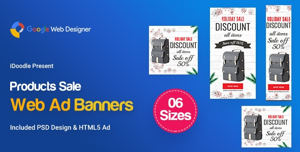 C101-Merry Christmas Banners HTML5 Ad (GWD & PSD) - CodeCanyon Item for Sale