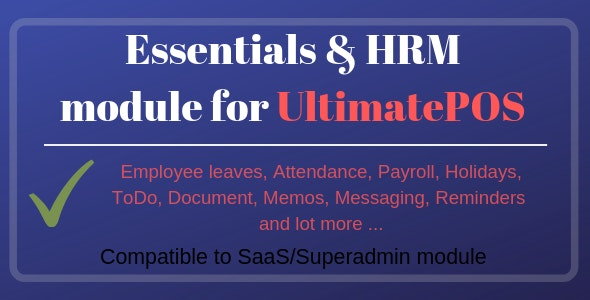 Essentials & HRM (Human resource management) Module for UltimatePOS - CodeCanyon Item for Sale