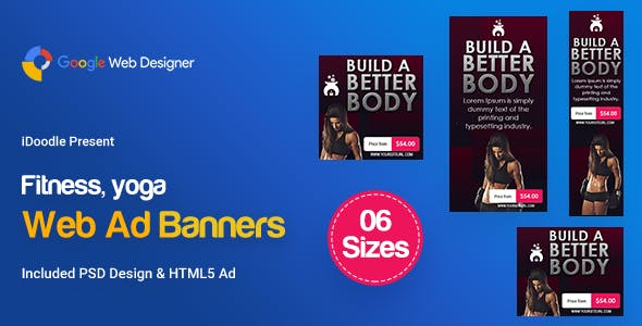 C109 - Yoga & Fitness Banners HTML5 - GWD & PSD