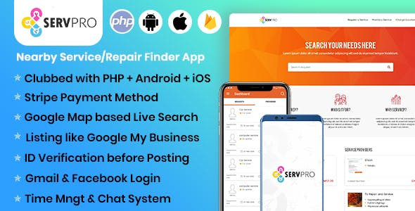 SERVPRO – Nearby Service(Provider / Requester) Finder App(Web + Android + iOS) - CodeCanyon Item for Sale