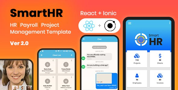 SmartHR - Payroll, HR Management System - Ionic and React Native Mobile App Template