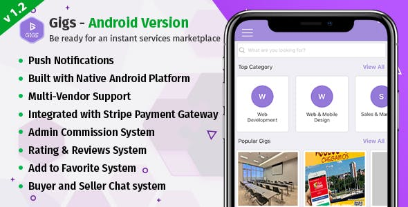 Gigs (Services Marketplace) - Native Android App | Fiverr Clone