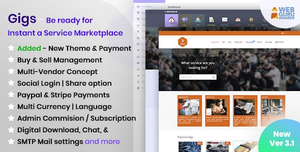 Gigs - Services Marketplace PHP Script (Fiverr clone - Multi Vendor )
