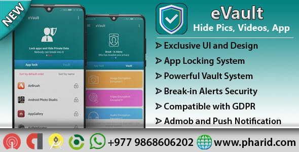 eVault - Hide Pics, Videos with AppLocker | Beautiful UI, Ads Slider, Admob, Push Notification