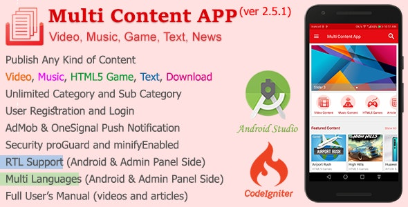 Multi Content APP by inw24 | CodeCanyon