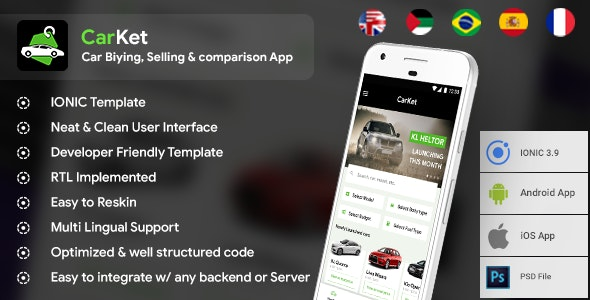 Car Buying, Selling & comparison Android + iOS App Template | HTML + Css IONIC 3 | CarKet - CodeCanyon Item for Sale