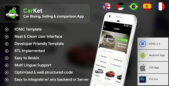 Car Buying, Selling & comparison Android + iOS App Template | HTML + Css IONIC 3 | CarKet