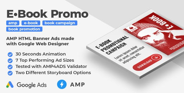 E-Book Promo - Animated AMP HTML Banner Ad Templates (GWD, AMPHTML)
