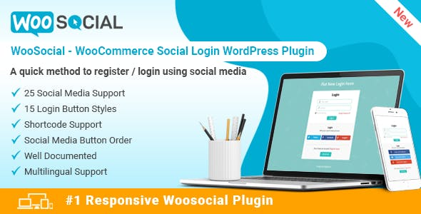WooSocial - WooCommerce Social Login WordPress Plugin