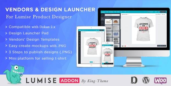 Vendors & Design Launcher Addon for LUMISE Product Designer