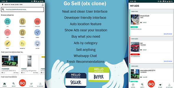 GoSell | Classified Ads Android App | OLX CLONE by tecmanic