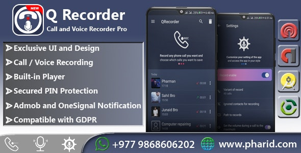 QRecorder - Call and Voice Pro | Beautiful UI, Ads Slider, Admob, Push Notification - CodeCanyon Item for Sale