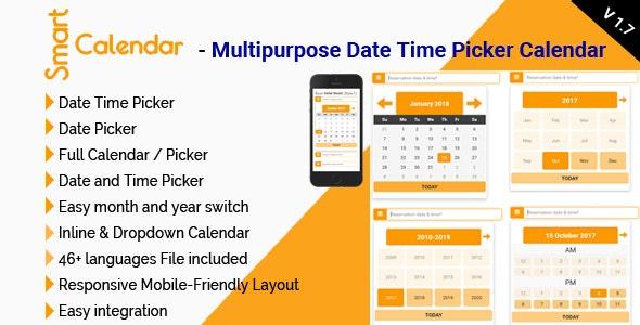 SmartCalendar - Multipurpose Date Time Picker Calendar - CodeCanyon Item for Sale