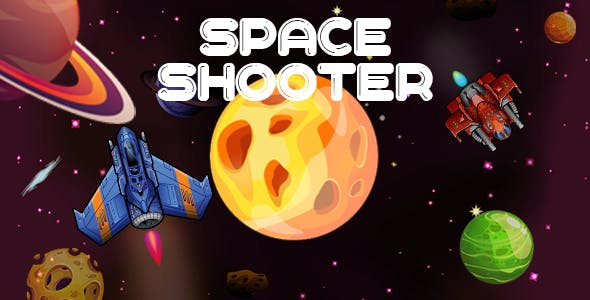Space Shooter : android game with share and review button-easy to reskin