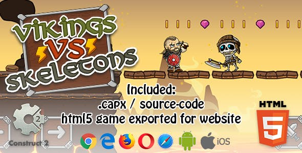 Vikings VS Skeletons HTML5 Platform Game - Construct 2 (.capx + html5 Source-code)