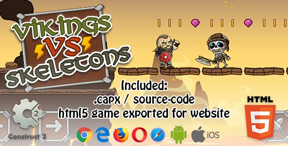 Vikings VS Skeletons HTML5 Platform Game - Construct 2 (.capx + html5 Source-code) - CodeCanyon Item for Sale