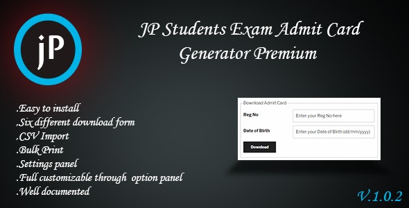 JP Students Exam Admit Card Generator Premium - CodeCanyon Item for Sale