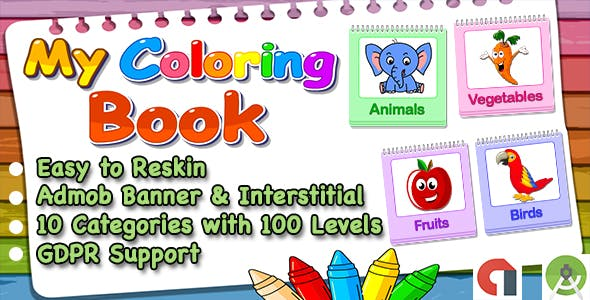 Top Kids Games My Coloring Book + Admob + Education + Ready For Publish