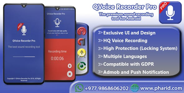 QVoice Recorder Pro - Beautiful UI, Ads Slider, Admob Integration, Modern functions