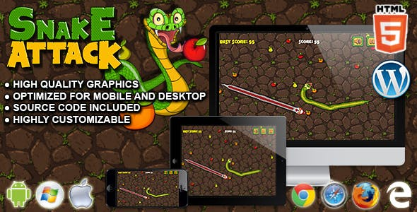 Snake Attack - HTML5 Survival Game