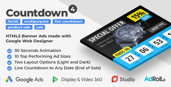 Countdown 4 - Product Sale HTML5 Banner Ad Templates with Live Countdown (GWD, jQuery) - CodeCanyon Item for Sale