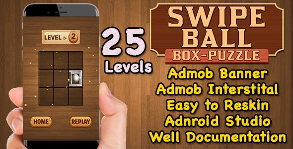 Swipe Ball Box Puzzle Game For Kids + Brain Teasers + Admob + Android Studio + Ready For Publish