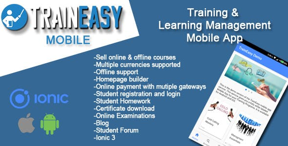 Learning Management System Ionic 3 App - TrainEasy