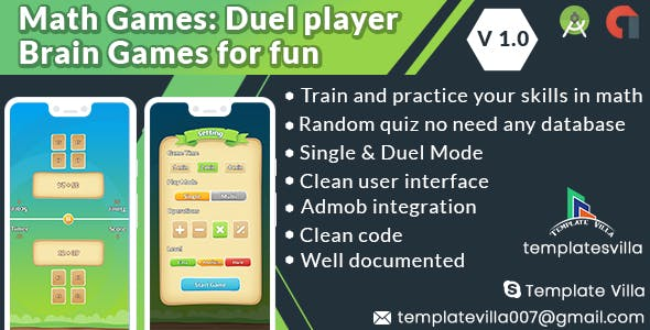Math Games: Duel player Brain Games for fun