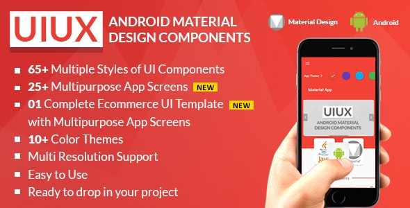 UIUX - Android Material Design Components, Multipurpose App Screens & Complete Starter UI Templates