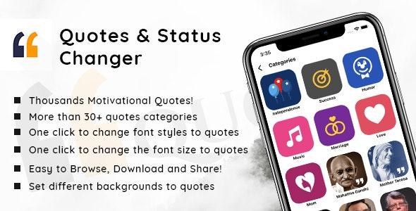 Quotes and status changer - iOS Native mobile app by
