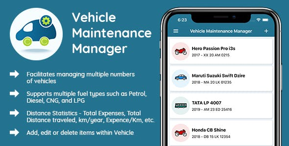 Vehicle Maintenance Manager - iOS Native mobile app