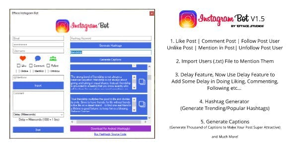 Efface Instagram Bot - Get More Instagram Followers