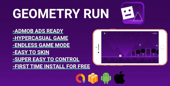 Geometry Run - Hyper-casual game (Android Studio ) Easy Reskin