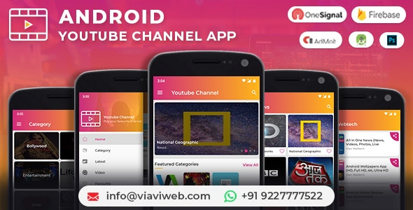 Android YouTube Channel App (Youtubers, YT Channels, YT Videos) with Admob Ads - CodeCanyon Item for Sale