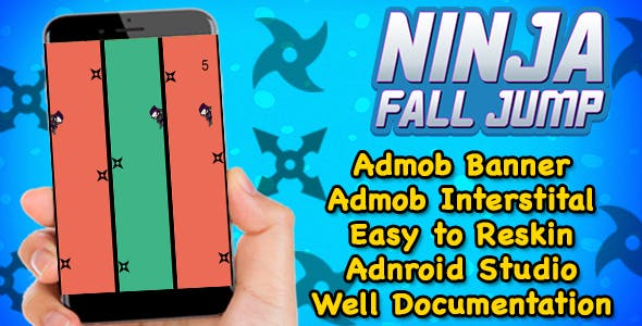 Ninja Fall Jump + Endless Game Play (Admob + Android Studio) Ready For Publish