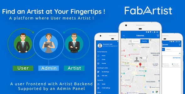 Hire for Work - Fab Artist Android | 2 Apps | Customer App + Artist App + Admin Panel | Freelancer
