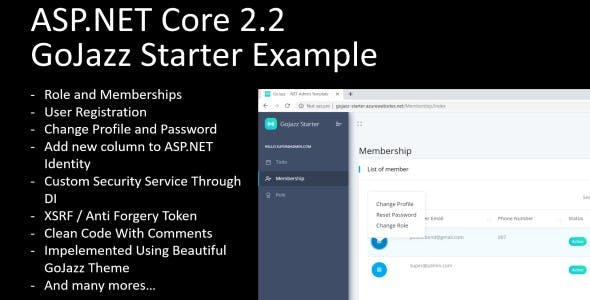 GoJazz Starter Example - ASP.NET Roles and Membership