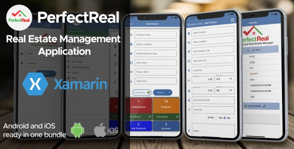 Real Estate Management Application Xamarin Android + iOS by