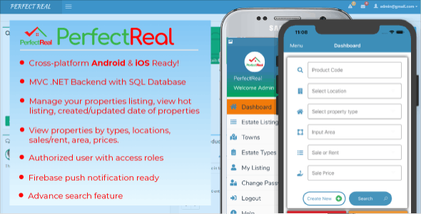 PerfectReal RealEstate Management Application - Cross platform with .NET MVC Admin