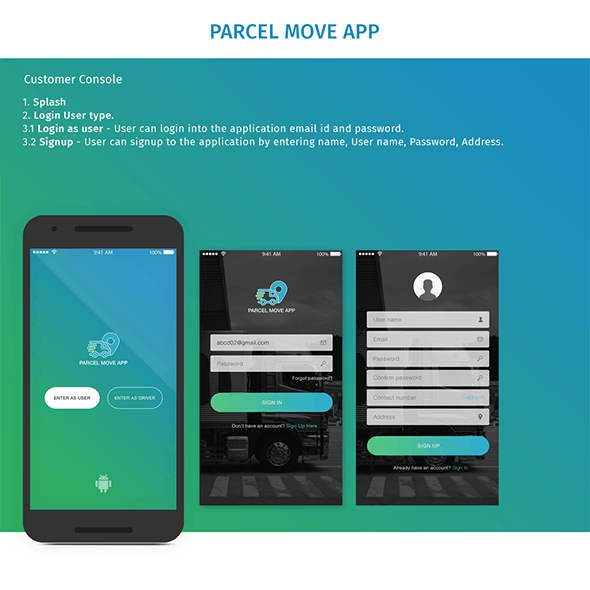 Parcel Move Android Template - CodeCanyon Item for Sale