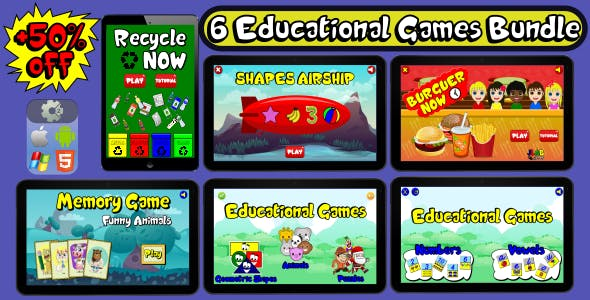 6 Educational Games Bundle