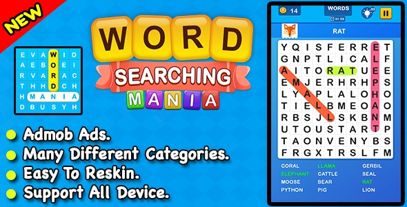 Word Searching Mania + Best Word Search Puzzle Game For Kids + Ready For Publish - CodeCanyon Item for Sale