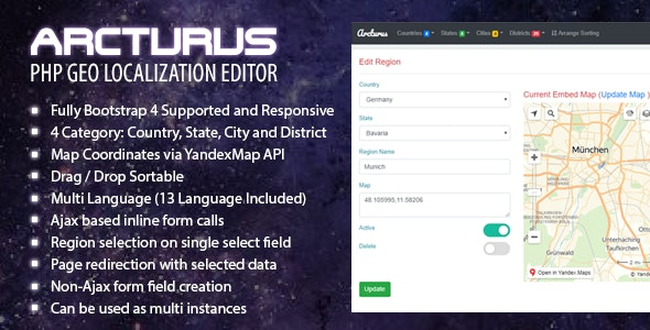 Arcturus PHP Geo Localization Data Management System - CodeCanyon Item for Sale
