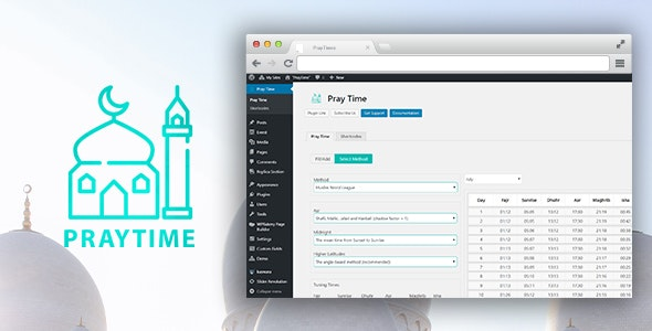 PrayTimes - Islamic Prayer Time WordPress Plugin - CodeCanyon Item for Sale