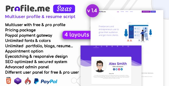 Profile me - Saas Multiuser Profile & Resume Script by codericks