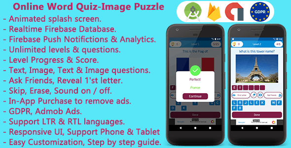 Online Word Quiz + Image Guess Puzzle Game for Android