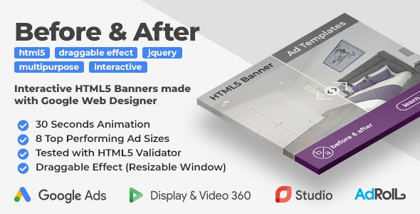 Before & After - Interactive Animated HTML5 Banner Ad Templates (GWD, jQuery)