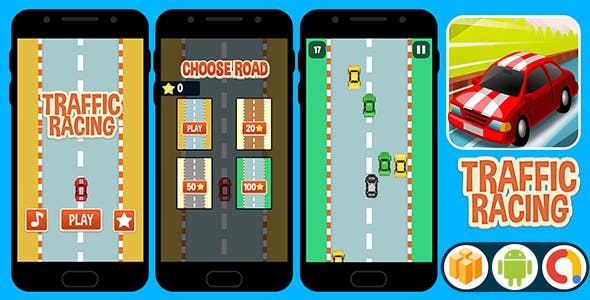 Traffic Racing ( BBDOC Buildbox 2.2.8 Project ) + Android Code with Admob