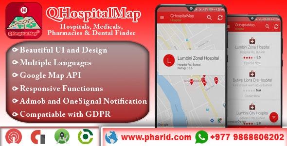 QHospitalMap - Hospitals, Medicals, Blood Banks, Pharmacies, Dental and Diagnostics Finder - CodeCanyon Item for Sale