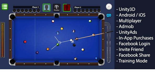 Billiards Multiplayer - 8 Ball Pool Style Unity